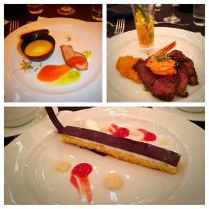Clockwise from top left: Plated Team Competition Appetizer, Entree & Dessert