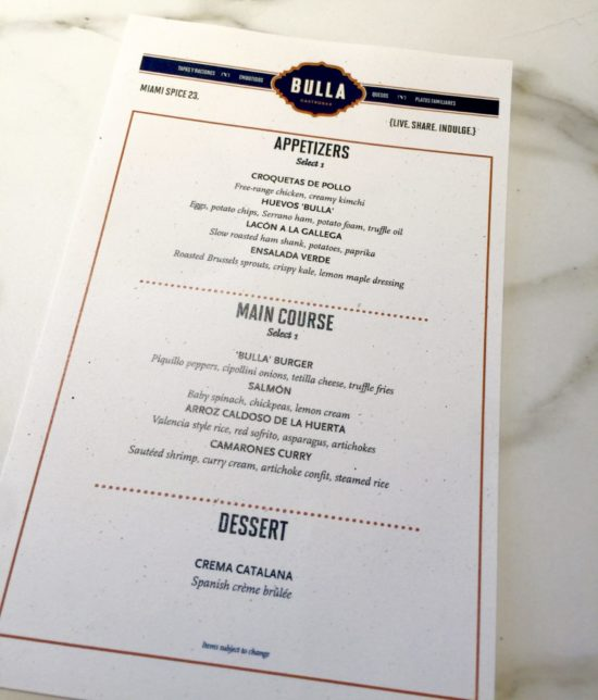 Bulla Gastrobar Miami Spice Lunch Menu