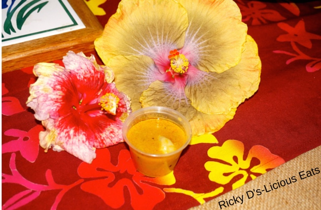 Pumkin Soup with Hibiscus Flower Presentation